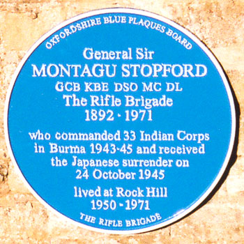 Plaque to Montagu Stopford